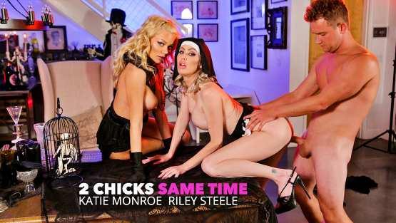 2 Chicks Same Time – Katie Monroe, Riley Steele Get Fucked